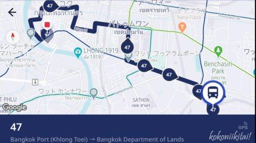 バンコク市バス路線図、バンコク市バスマップ、VIABUS、バンコク市バス47番路線ルート