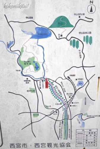 夙川沿い地図