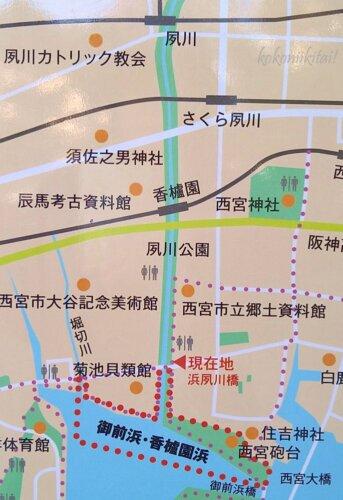 夙川沿いの地図